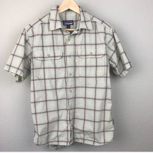 Patagonia Nylon Grid Plaid Snap Short Sleeve Shirt